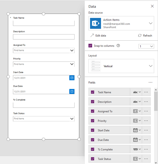 Creating PowerApps SharePoint List Forms for Out of the Box Lists
